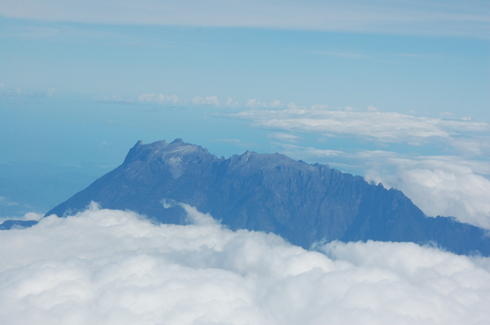 flying over Mt Kinabalu